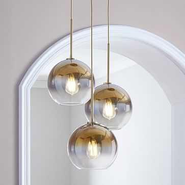 Sculptural Glass Globe 3 Light Chandelier, Medium, Gold Ombre, Brass - West Elm