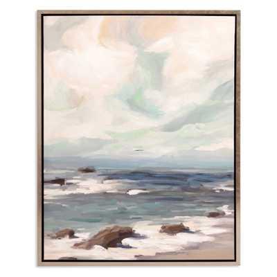 "30""x38"" Stormy Shore Coastal Framed Canvas Art Champagne (Beige) - Patton Wall Decor - Target"