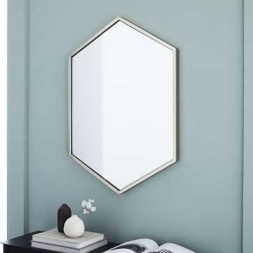 Metal Framed Hexagon Mirror, Brushed Nickel, UPS - West Elm