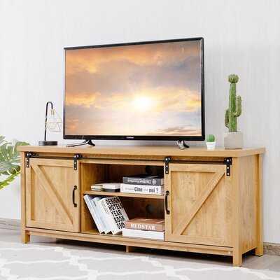 Gracie Oaks Tv Stand Media Center Console Cabinet Sliding Barn Door For Tv's 60'' White Oak - Wayfair