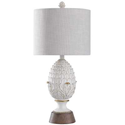 StyleCraft 27 in. Distressed Off-White/Faux Wood Table Lamp with Textured Oatmeal Hardback Fabric Shade - Home Depot