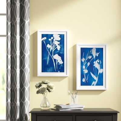 'A Touch of Royal Blue Diptych' 2 Piece Framed Acrylic Painting Print Set - AllModern