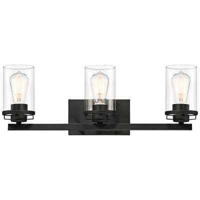 "Jedrek 24"" Wide Black 3-Light Vanity Bath Light - Style # 71J48 - Lamps Plus"