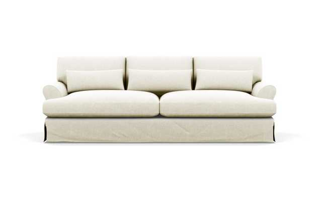 Maxwell Slipcovered Sofa with White Vanilla Fabric and Oiled Walnut with Brass Cap legs - Interior Define