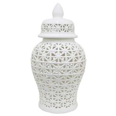 Pierced Jar, White - Home Depot
