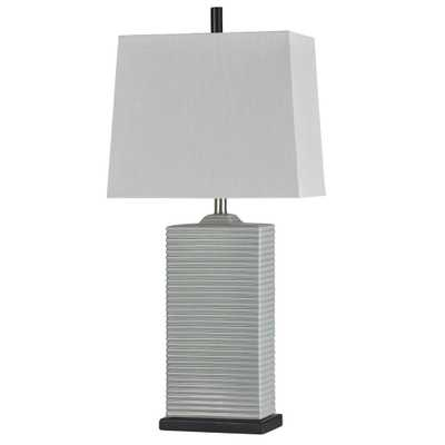 StyleCraft 33 in. Seger Grey Table Lamp with White Styrene Shade - Home Depot