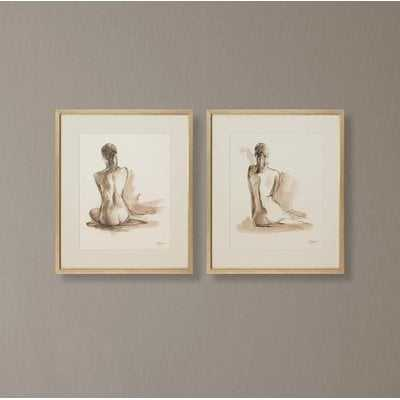 'Nude Sketches' 2 Piece Framed Drawing Print Set - Wayfair
