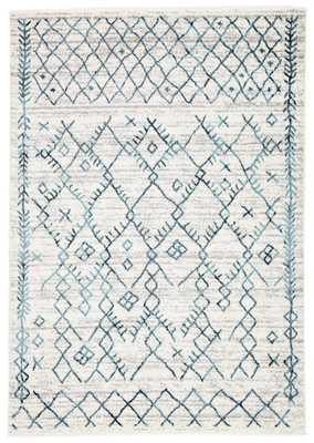 "Copeland Trellis White/ Teal Area Rug (8'10""X12') - Collective Weavers"