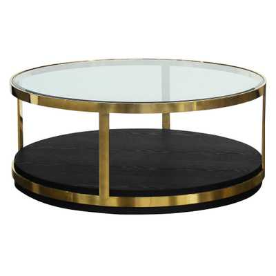 Newman Black Coffee Table, Brushed Gold - Home Depot