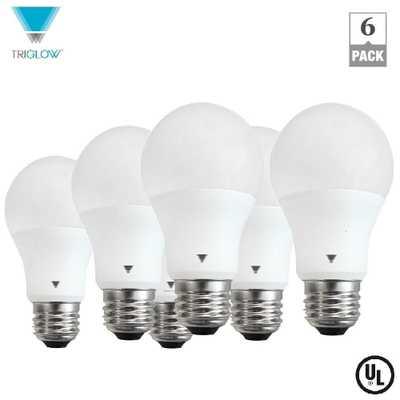 60-Watt Equivalent A19 LED Light Bulb E26 Base Deco White 3500K (6-Pack) - Home Depot