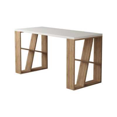 Ada Home Decor Brian White and Oak (Brown) Modern Desk - Home Depot