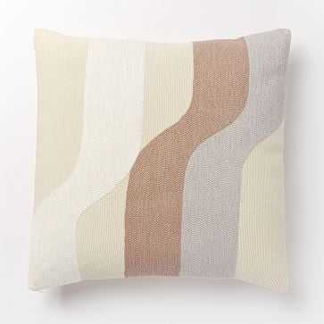 """Corded Wavy Shapes Collage Pillow Cover, 18""""x18"""", Dusty Blush - West Elm"""