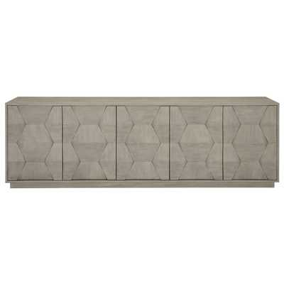 Landon Modern Masculine Grey Fancy Face Wood Media Cabinet - Kathy Kuo Home