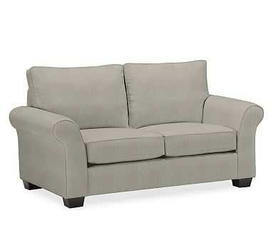 """PB Comfort Roll Arm Upholstered Loveseat 64"""", Box Edge Memory Foam Cushions, Performance Tweed Silver Taupe - Pottery Barn"""
