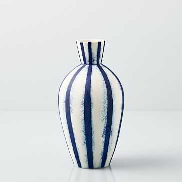 "Abstract Indigo Vase, Small Stripe, 11"" - West Elm"