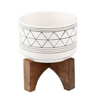 Flora Bunda 7 in White/Black Line Ceramic Geometric Pot W/Wood Stand Planter Mid Century - Home Depot