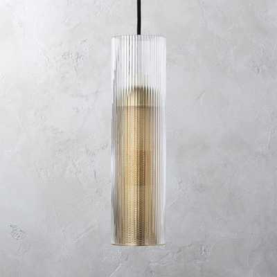 Striae Ribbed Glass Pendant Light - CB2