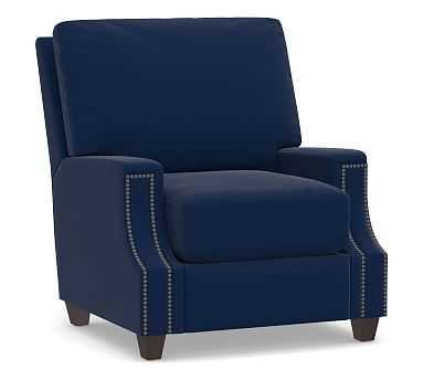 James Square Arm Upholstered Recliner, Down Blend Wrapped Cushions, Performance Everydayvelvet(TM) Navy - Pottery Barn
