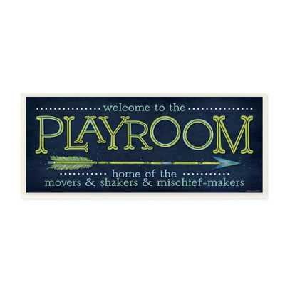 "7 in. x 17 in. ""Playroom Home Of Mischief Makers Blue"" by Stephanie Workman Marrott Printed Wood Wall Art, Multi-Colored - Home Depot"