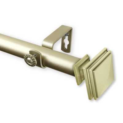 Rod Desyne Bedpost 66 in. - 120 in. Curtain Rod in Light Gold - Home Depot