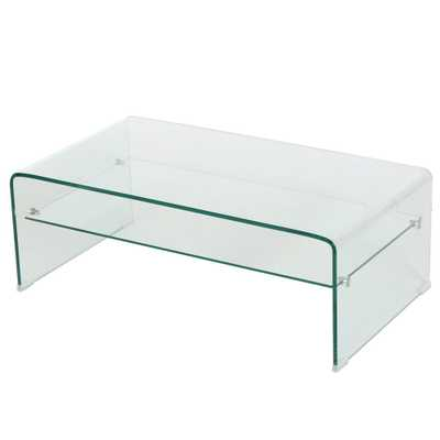 Noble House Clear Tempered Glass Rectangular Coffee Table with Shelf - Home Depot