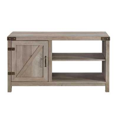 Walker Edison Furniture Company 44 in. Grey Wash Rustic Farmhouse Barn Door TV Stand Storage Console with Shelving - Home Depot