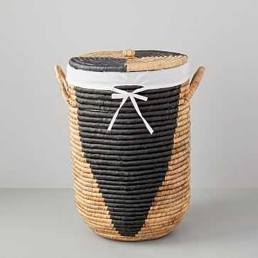 Woven Seagrass Hampers, Natural/Black, Small - West Elm
