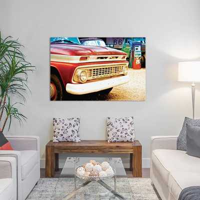 Classic Chevrolet Grill at U.S Route 66 Fill-Up Station Photographic Print on Wrapped Canvas - Wayfair