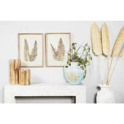 "Litton Lane ""Vintage Fern Illustrations"" Framed Wooden Wall Art (Set of 2), Brown - Home Depot"