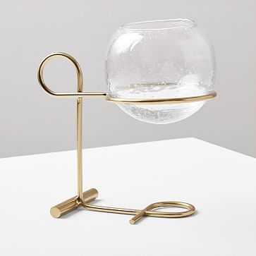 Brass + Glass Globe Centerpiece Candleholder - West Elm