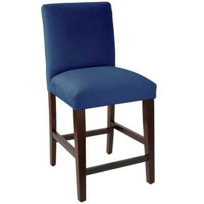 Skyline Furniture Velvet Navy Counter stool with Diamond Tufted Back - Home Depot