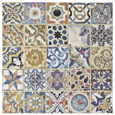 Merola Tile Avila Arenal Decor 12-1/2 in. x 12-1/2 in. Ceramic Floor and Wall Tile, Multi/Mixed Finish - Home Depot