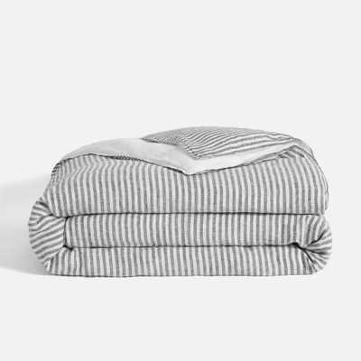 Linen Duvet Cover - Full/Queen / Charcoal Chambray and White Stripe - Brooklinen