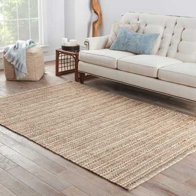 Caroline Handwoven Flatweave Jute/Sisal Almond Buff/Illusion Blue Striped Area Rug - AllModern