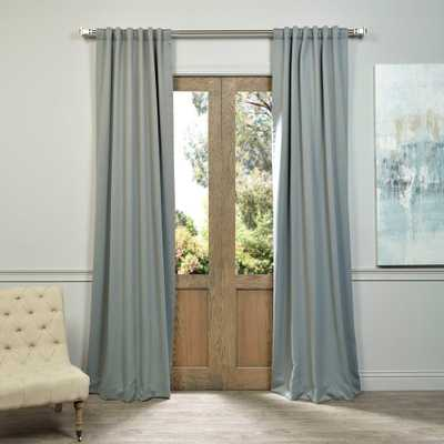Exclusive Fabrics & Furnishings Semi-Opaque Natural Grey Blackout Curtain - 50 in. W x 96 in. L (Panel), Neutral Grey - Home Depot