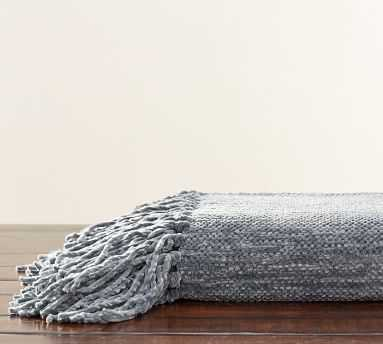 """Chenille Fringe Throw, 50 x 60"""", Chateau Blue - Pottery Barn"""