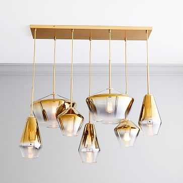 Sculptural Glass 7 Light Linear Geo Chandelier, Gold Ombre Shade, Brass Canopy - West Elm