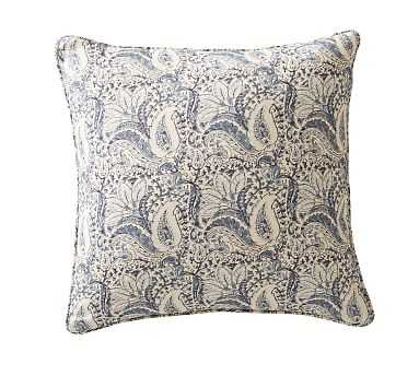 "Amala Kalimkari Print Pillow Cover, 20"" Blue - Pottery Barn"