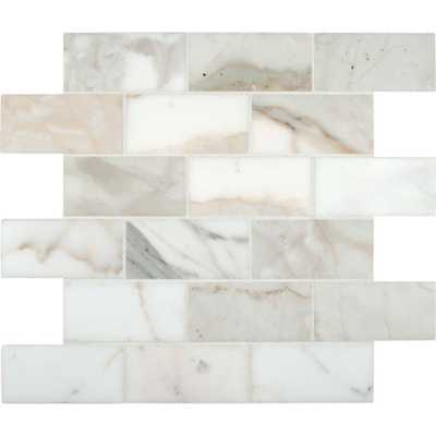 MSI Calacatta Gold 12 in. x 12 in. Polished Marble Mesh-Mounted Mosaic Tile, White - Home Depot