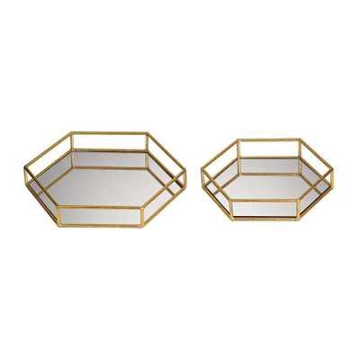 14 in. x 12 in. and 11 in. x 10 in. Mirrored Hexagonal Decorative Trays (Set of 2), Gold - Home Depot