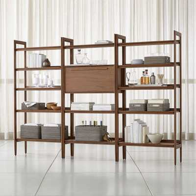 Tate Bookcase Bar with 2 Wide Bookcases - Crate and Barrel