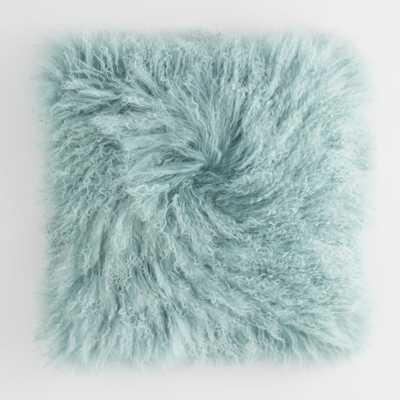 Jadeite Mongolian Lamb Fur Throw Pillow: Blue by World Market - World Market/Cost Plus