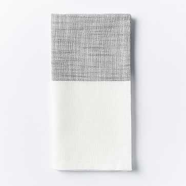 Center Stripe Woven Napkin, Set of 4, Slate - West Elm