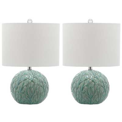 Safavieh Robinson 20 in. Light Blue Table Lamp with Off-White Shade (Set of 2) - Home Depot