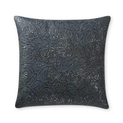 "Rob and Lydia Mondavi Flora Leather Pillow Cover, 18"" X 18"", Navy - Williams Sonoma"