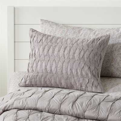 Chic Grey Gathered Sham - Crate and Barrel