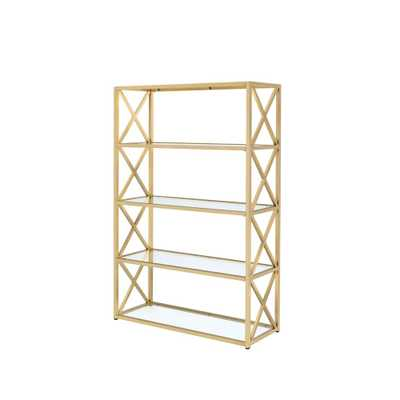 Milavera ETagere Clear Glass and Gold Bookcase - Home Depot