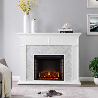 Southern Enterprises Doris Marble Tiled 50 in. Electric Fireplace in White and Gray, White finish w/ white and gray marble - Home Depot