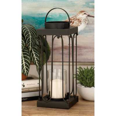 Black Tin and Clear Glass Lantern Candle Holder (Set of 2) - Home Depot