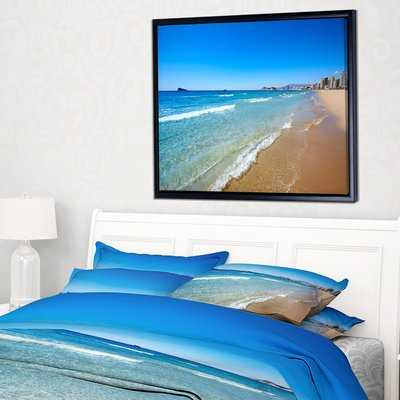 'Benidorm Poniente Beach Waves' Framed Photographic Print on Wrapped Canvas - Wayfair